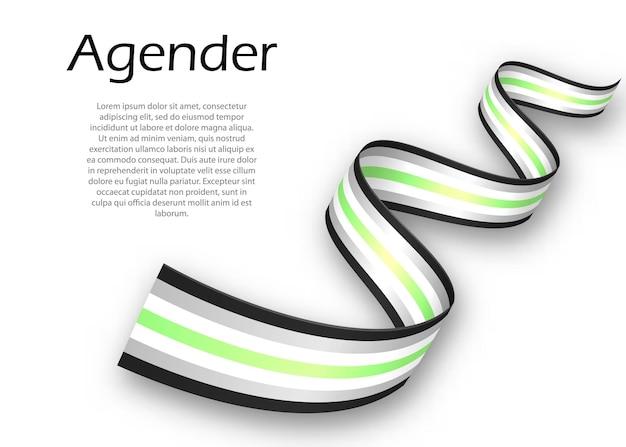Fita ondulada ou banner com a bandeira do orgulho agender, ilustração vetorial