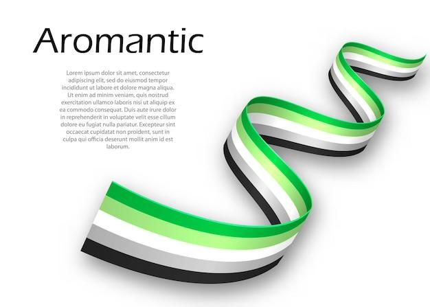 Fita ondulada ou banner com a bandeira do orgulho aromântico, ilustração vetorial