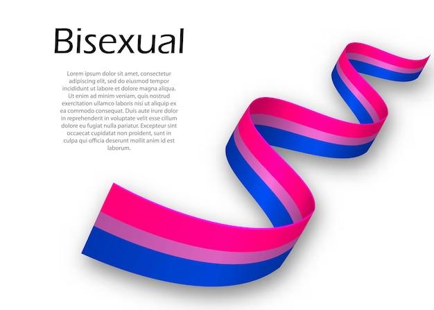 Fita ondulada ou banner com a bandeira do orgulho bissexual, ilustração vetorial