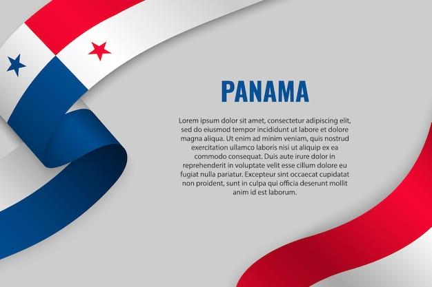 Fita ondulada ou banner com a bandeira do panamá