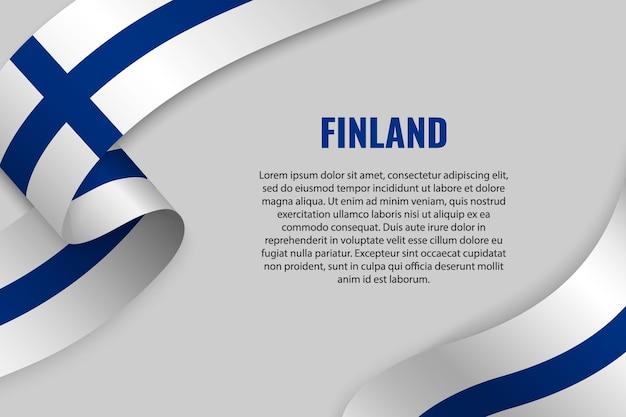 Fita ondulada ou banner com bandeira da finlândia