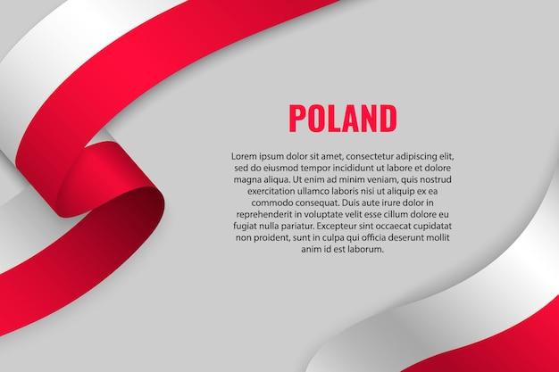 Fita ondulada ou banner com bandeira da polônia