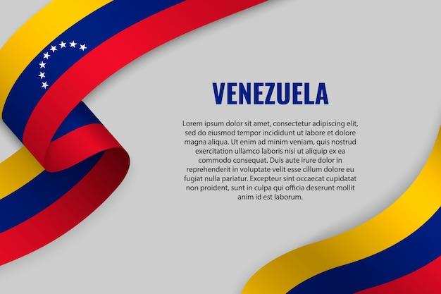 Fita ondulada ou banner com bandeira da venezuela
