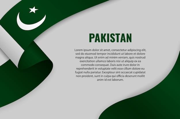 Fita ondulada ou banner com bandeira do paquistão Vetor Premium