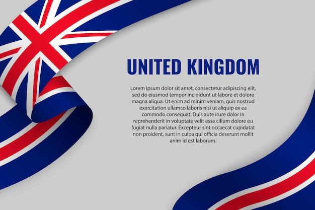 Fita ondulada ou banner com bandeira do reino unido