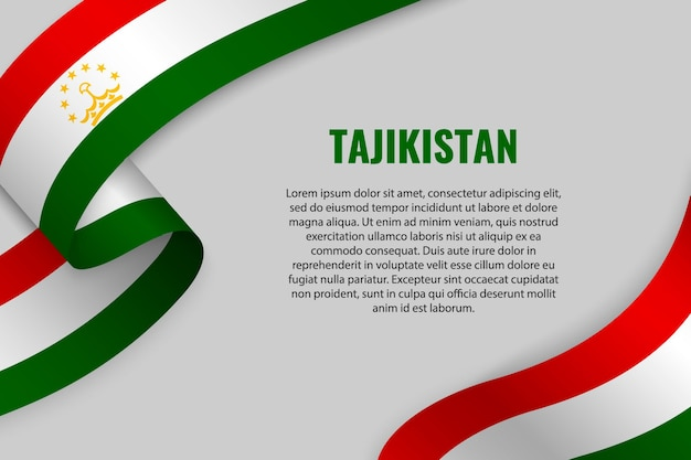 Fita ondulada ou banner com bandeira do tajiquistão