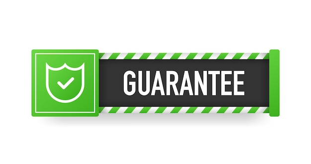 Fita plana com bandeira de garantia verde sobre fundo branco. ilustração vetorial.