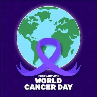 Fita plana do dia do câncer com globo terrestre