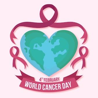 Fita plana do dia do câncer e mundo em forma de coração