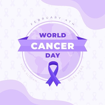 Fita plana do dia do câncer no globo terrestre