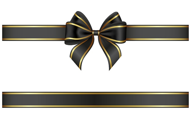 Fita preta e arco com debrum dourado