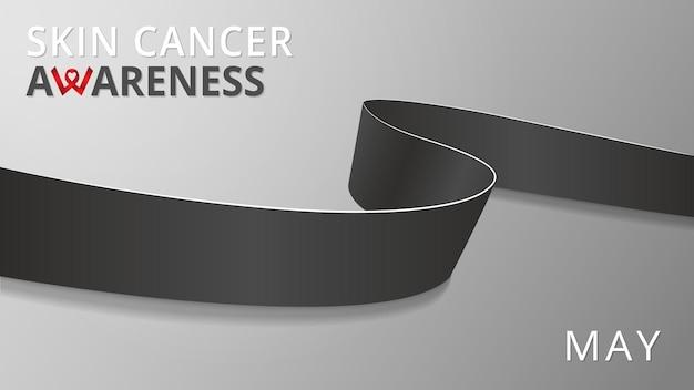 Fita preta realista. cartaz do mês de câncer de pele de conscientização. ilustração vetorial. conceito de solidariedade do dia mundial de câncer de pele. plano de fundo cinza. símbolo do melanoma. fita de luto.
