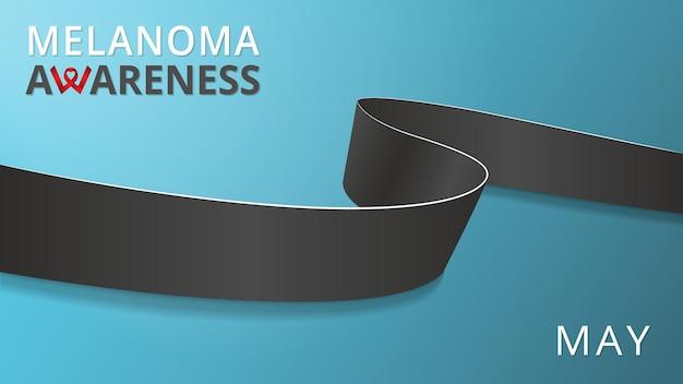 Fita preta realista. cartaz do mês de melanoma de conscientização. ilustração vetorial. conceito de solidariedade do dia mundial do melanoma. fundo azul. símbolo do câncer de pele. fita de luto.
