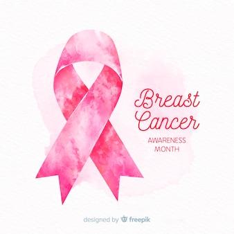 Fita rosa aquarela para símbolo de conscientização de câncer de mama