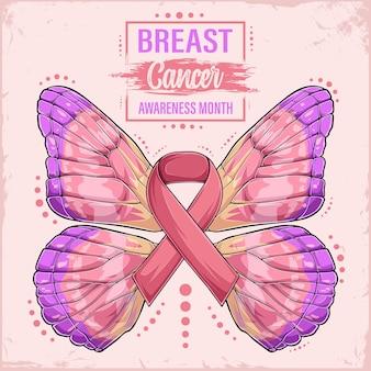 Fita rosa com asas de borboleta conceito do mês de conscientização do câncer de mama apoio à saúde feminina