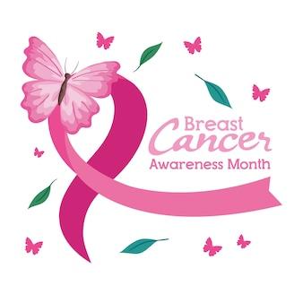 Fita rosa com borboleta de design, campanha e tema de prevenção do câncer de mama
