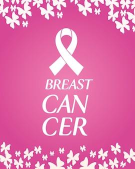 Fita rosa com borboletas de design, campanha e tema de prevenção do câncer de mama