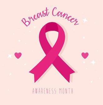 Fita rosa com corações de design, campanha e tema de prevenção do câncer de mama