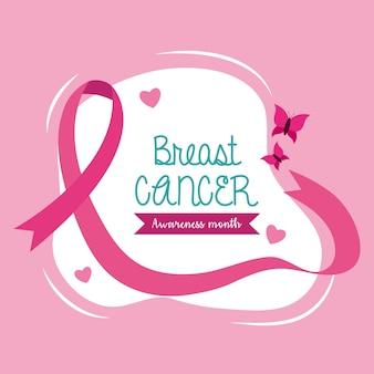 Fita rosa de conscientização do câncer de mama com desenho de borboleta, tema da campanha.