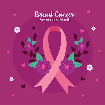 Fita rosa de conscientização do câncer de mama com desenho de flores, tema da campanha.