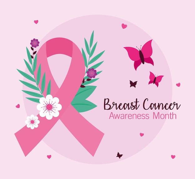Fita rosa de conscientização do câncer de mama com design de flores e borboletas, tema da campanha.