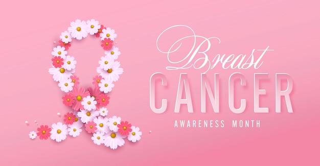 Fita rosa de conscientização do câncer de mama e fundo de flores