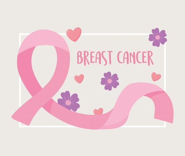 Fita rosa de flores para a conscientização do câncer de mama, desenho e ilustração vetorial