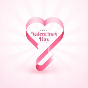 Fita rosa disposta em forma de coração com letras elegantes de va