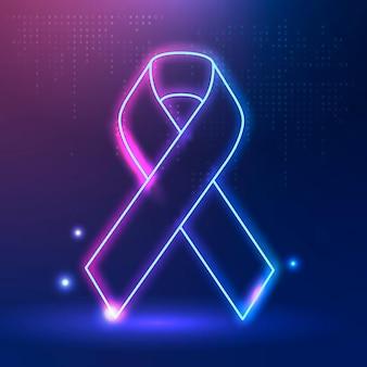 Fita rosa e azul para conscientização do câncer de tireoide para suporte de saúde