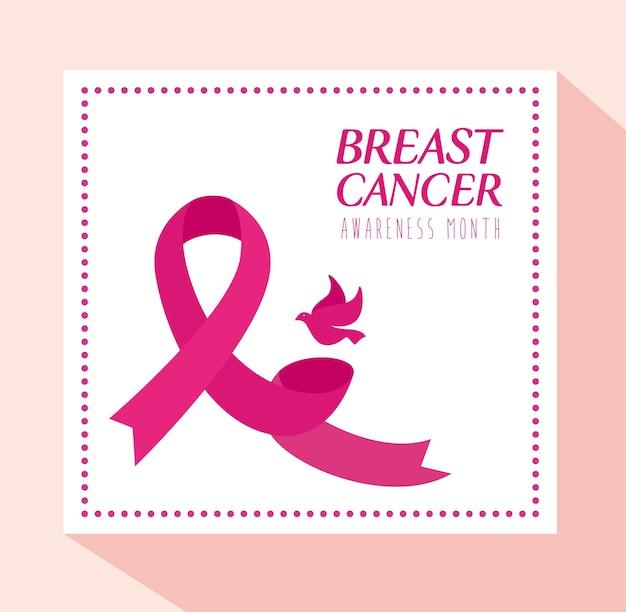 Fita rosa e pomba no quadro do projeto de conscientização do câncer de mama, campanha e tema de prevenção
