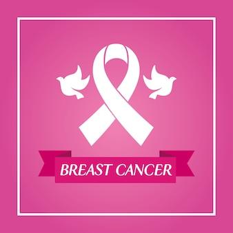 Fita rosa e pombas na moldura do projeto de conscientização do câncer de mama, campanha e tema de prevenção