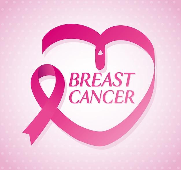 Fita rosa em forma de coração, símbolo do mês mundial de conscientização do câncer de mama