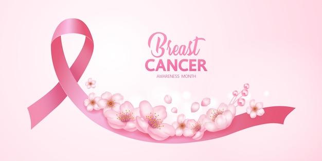 Fita rosa em fundo rosa de ilustração de conscientização do câncer de mama.