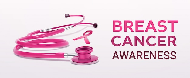 Fita rosa estetoscópio ícone mama câncer consciência realista ferramenta médica banner
