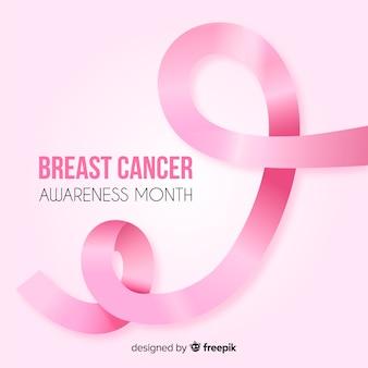 Fita rosa para conscientização do câncer de mama com texto