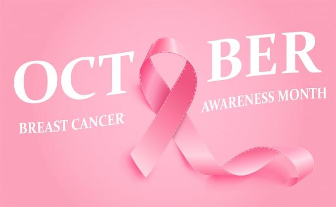 Fita rosa realista de conscientização do câncer de mama