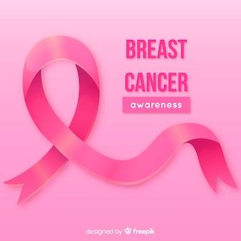 Fita rosa realista para conscientização do câncer de mama