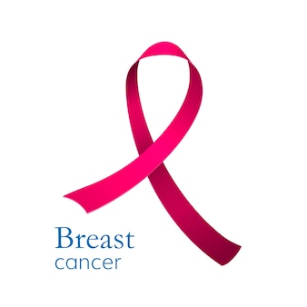 Fita rosa, símbolo de conscientização do câncer de mama. isolado no branco