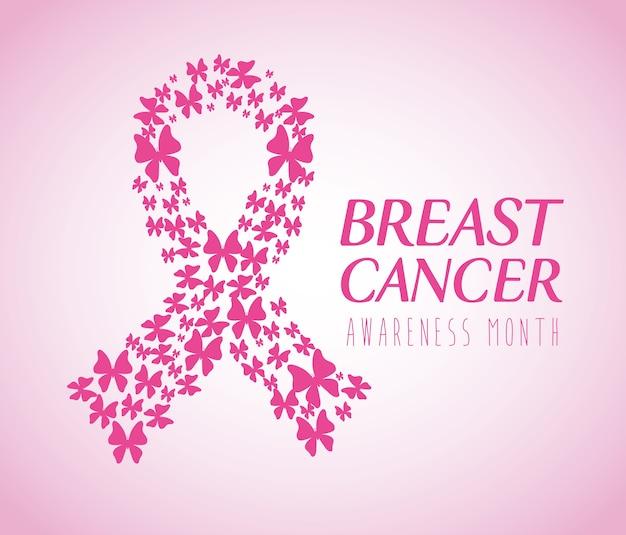 Fita rosa, símbolo do mês mundial da conscientização do câncer de mama com borboletas