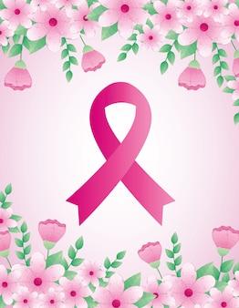 Fita rosa, símbolo do mês mundial da conscientização do câncer de mama, com decoração de flores