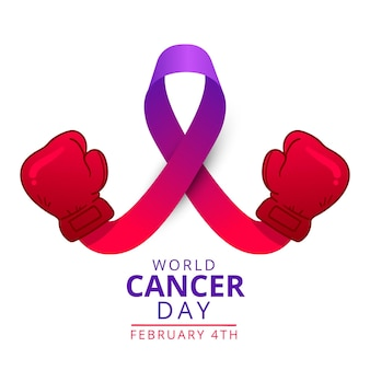 Fita roxa do dia do câncer no mundo plano com luvas de boxe