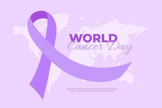 Fita roxa do dia do câncer no mundo plano