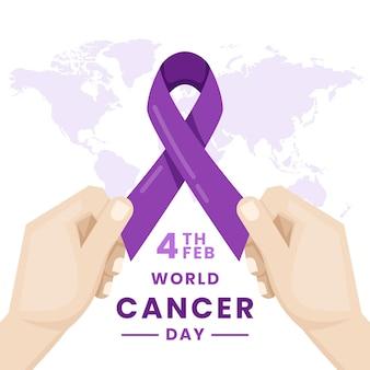 Fita roxa do dia mundial do câncer com as mãos