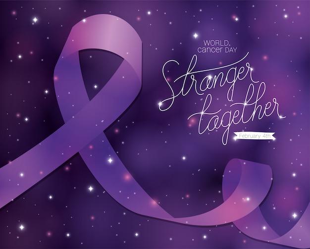 Fita roxa e estrangeiro juntos, design de texto, dia mundial do câncer, quatro de fevereiro, campanha de conscientização sobre prevenção de doenças e tema da fundação