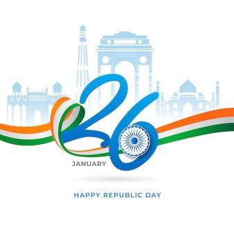 Fita tricolor e monumentos famosos da índia