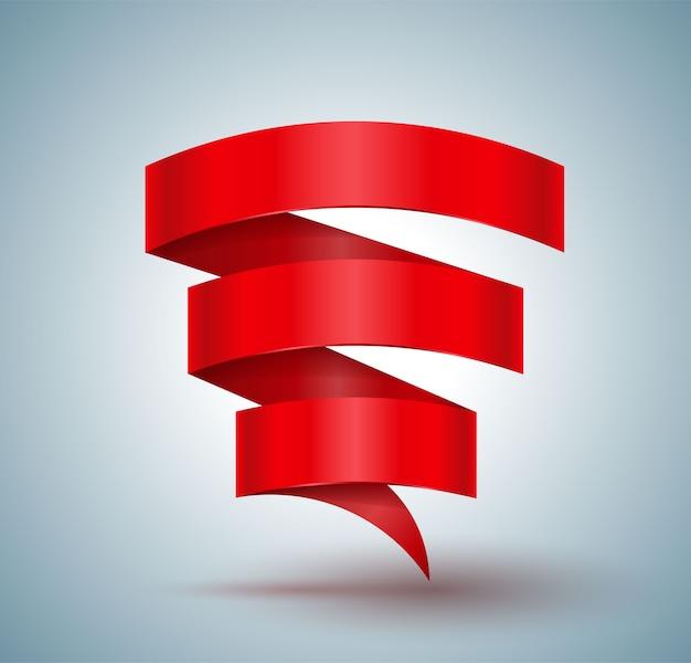 Fita vermelha banner em ziguezague três passos para promoção