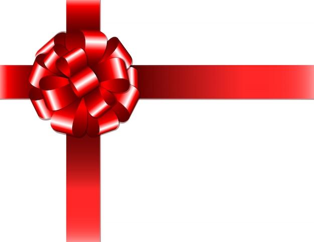 Fita vermelha brilhante com laço no fundo branco. ilustração