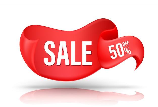 Fita vermelha com oferta de promoção de desconto de texto de venda