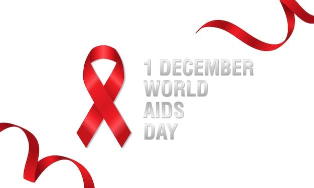 Fita vermelha da bandeira com símbolo para o dia mundial do sida, o 1º de dezembro.