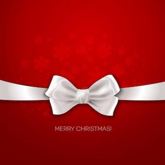 Fita vermelha de fundo de natal com ilustração de laço de seda branca